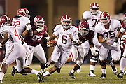 FAYETTEVILLE, AR - OCTOBER 11:  Blake Sims #6 of the Alabama Crimson Tide runs the ball against the Arkansas Razorbacks at Razorback Stadium on October 11, 2014 in Fayetteville, Arkansas.  The Crimson Tide defeated the Razorbacks 14-13.  (Photo by Wesley Hitt/Getty Images) *** Local Caption *** Blake Sims