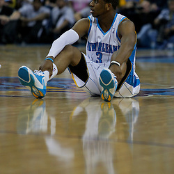 27 April 2009: New Orleans Hornets guard Chris Paul (3) sits on the floor after being knock down during game four of the NBA Western Conference Quarterfinals playoffs between the New Orleans Hornets and the Denver Nuggets at the New Orleans Arena in New Orleans, Louisiana.