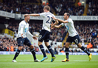 Football - 2013 / 2014 Premiership league - Tottenham Hotspur v Norwich City<br /> Gylfi Sigurdsson- Tottenham celebrates  scoring goal no. 1<br /> with Kyle Walker and Andros Townsend (right)<br /> <br /> <br /> Credit : Colorsport / Andrew Cowie
