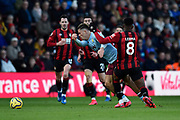 Jack Grealish (10) of Aston Villa is fouled by Jefferson Lerma (8) of AFC Bournemouth during the Premier League match between Bournemouth and Aston Villa at the Vitality Stadium, Bournemouth, England on 1 February 2020.