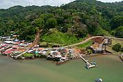 Aerial view of Portobelo town. Caribbean, Colon province, Panama, Central America.