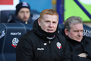 Bolton Wanderers First Team Manager Neil Lennon during the The FA Cup fourth round match between Bolton Wanderers and Leeds United at the Macron Stadium, Bolton, England on 30 January 2016. Photo by Simon Brady.