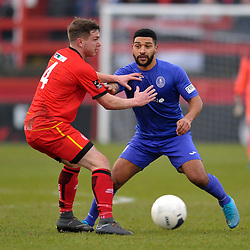 TELFORD COPYRIGHT MIKE SHERIDAN Ellis Deeney of Telford battles for the ball with Bobby Johnson of Alfreton during the Vanarama Conference North fixture between AFC Telford United and Alfreton Town at The Impact Arena on Wednesday, January 1, 2020.<br /> <br /> Picture credit: Mike Sheridan/Ultrapress<br /> <br /> MS201920-038