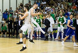 Nikola Jankovic #12 of KK Union Olimpija and Gregor Hrovat #15 of KK Union Olimpija celebrate during basketball match between KK Union Olimpija and KK Rogaska in 4th Final game of Liga Nova KBM za prvaka 2016/17, on May 24, 2017 in Hala Tivoli, Ljubljana, Slovenia. Photo by Vid Ponikvar / Sportida