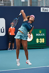 March 23, 2019 - Miami Gardens, FL, U.S. - MIAMI GARDENS, FL - MARCH 23: Naomi Osaka from Japan loses her third round match at the Miami Open on Saturday, March 23, 2019 at Hard Rock Stadium in Miami Gardens, FL. (Photo by Michele Sandberg/Icon Sportswire) (Credit Image: © Michele Sandberg/Icon SMI via ZUMA Press)