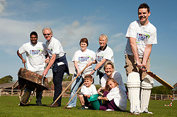 NatWest Staff memebers and family were on hand at Drax Cricket Club, Yesterday (Sunday 10 April 2011) to help with a clean up and  restoration ready for the start of the cricket season. Standing from left to right are Pave Kamal, Eric Mills, Helen Williamson, Nicola Stanley and David Ellis with  Davids Children Luke and Charlotte Ellis and Heidi Hughes . help out at Drax Cricket Club..10 April 2011.Images © Paul David Drabble