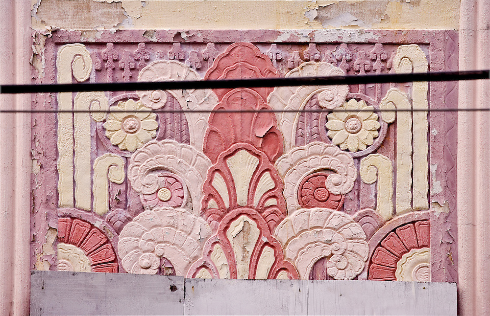 A distressed, Art Deco bas-relief on the Collins Plaza Hotel in Miami Beach, designed by architect Henry Hohauser in 1936, awaits  renovation some 75 years later.