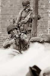 82nd 505th PIR with Thompson Sub machinegun take part in a Battle reenactment - Nww2A Fort Paull<br /> <br />  Copyright Paul David Drabble<br /> 5th & 6th May 2019<br />  www.pauldaviddrabble.co.uk