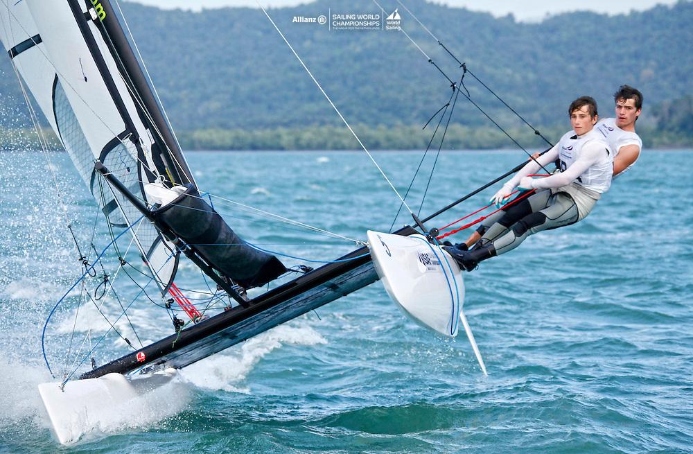 FranceSirena SL16OpenCrewFRACD47Charles Dorange<br />FranceSirena SL16OpenHelmFRALF25Louis Flament<br />Day4, 2015 Youth Sailing World Championships,<br />Langkawi, Malaysia