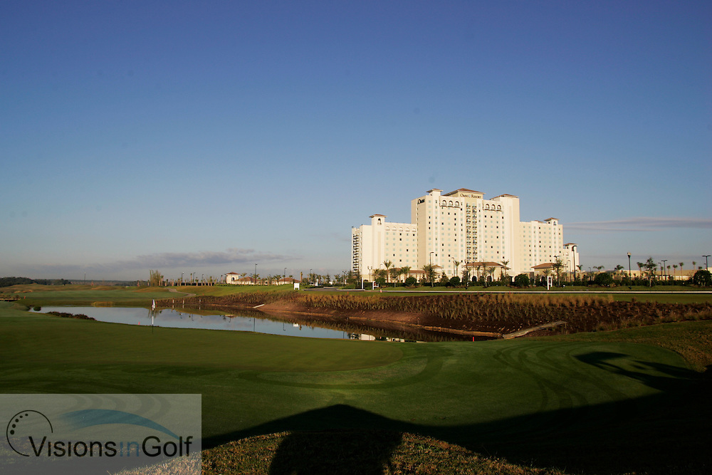 The 7th green and the Omni Orlando Resort Hotel at The International Course, Champions Gate, Florida USA. Designed by Greg Norman<br /> Photo Mark Newcombe