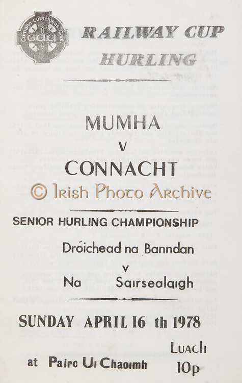 Railway Cup Hurling.Munster v Connacht.Pairc Ui Chaoimh.16th April 1978.16.04.1978