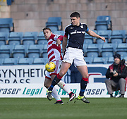 Dundee&rsquo;s Darren O&rsquo;Dea and Hamilton&rsquo;s Alexandre D'Acol - Dundee v Hamilton Academical in the Ladbrokes Scottish Premiership at Dens Park, Dundee, Photo: David Young<br /> <br />  - &copy; David Young - www.davidyoungphoto.co.uk - email: davidyoungphoto@gmail.com