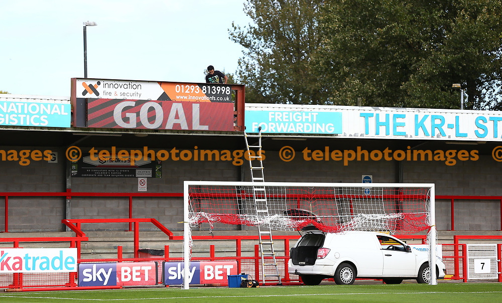 The scoreboard gets a checkover before the Sky Bet League 2 match between Crawley Town and Carlisle United at the Checkatrade Stadium in Crawley. 30 Sep 2017