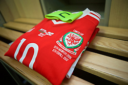 YSTRAD MYNACH, WALES - Wednesday, April 5, 2017: The shirt of Wales captain Jessica Fishlock in the dresssing room ahead of her 100th appearance for Wales during a Women's International Friendly match against Northern Ireland at Ystrad Mynach. (Pic by Laura Malkin/Propaganda)