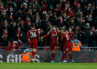 Football - 2019 / 2020 Premier League - Liverpool vs. Everton<br /> <br /> Liverpool celebrate after Sadio Mane puts them 4-1 ahead in the first half, at Anfield.<br /> <br /> COLORSPORT/ALAN MARTIN