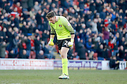 Leyton Orient goalkeeper Sam Sargeant (24) celebrates a goal for Leyton Orient FC goal (score 1-2)  during the EFL Sky Bet League 2 match between Leyton Orient and Notts County at the Matchroom Stadium, London, England on 18 February 2017. Photo by Andy Walter.
