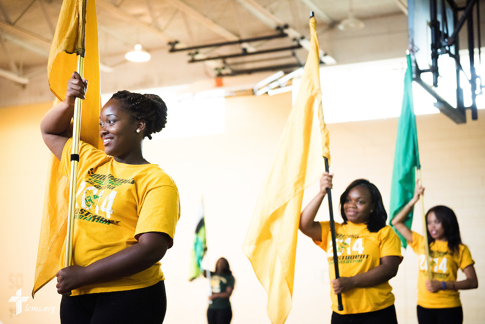Kiara Knight rehearses with the flags and dance team after class at Concordia College Alabama on Tuesday, August 18, 2014, in Selma, Ala.  LCMS Communications/Erik M. Lunsford