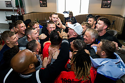 Manager Chris Wilder and Sheffield United celebrate securing automatic promotion from the Sky Bet Championship to the Premier League, after gathering at the stadium to watch Leeds United drop points versus Aston Villa on TV - Rogan/JMP - 28/04/2019 - Bramall Lane - Sheffield, England - Sky Bet Championship.
