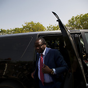February 26, 2012 - Dakar, Senegal: The president of the senegalese senate, Pape Diop, arrives at a polling station in Franco-Arab School in Point E area of Dakar. Hundreds arriving for voting in the early hours. (Paulo Nunes dos Santos/Polaris)