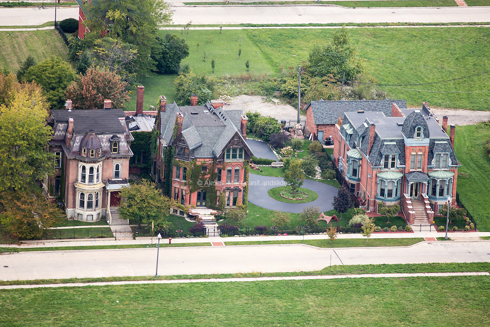Large victorian mansions appear to be well maintained in the Brush Park neighborhood of Detroit.