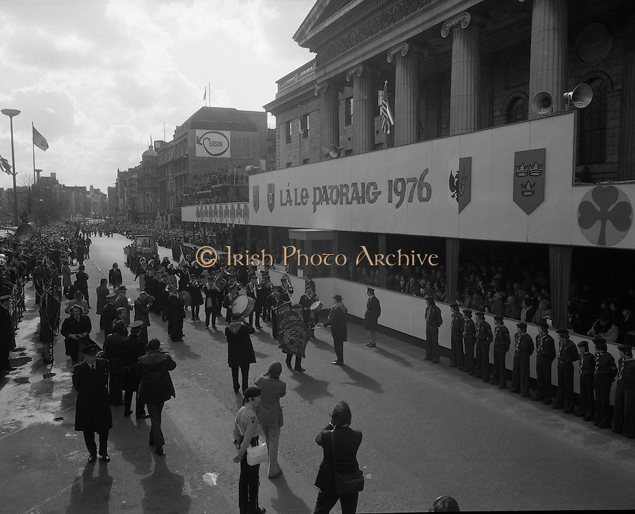St Patricks day Parade, Dublin .17/03/1976.03/17/1976.17th March 1976.Members of a marching band walk past the grandstand at the GPO, O'Connell Street.