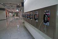 Pay phones in the concourse of Rockefeller Center at the Time-Life Building in New York City.