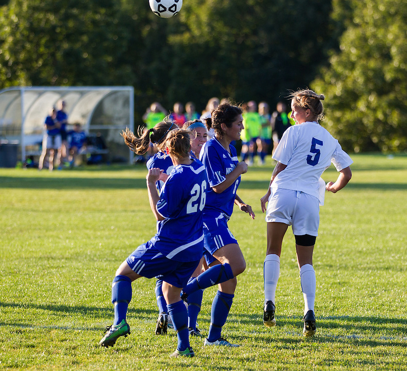 Amanda Findlay of Colby College jumps for a header during an NCAA Division III college soccer game against the University of New England at Colby College, Thursday Sept. 13, 2012 in Waterville, ME. (Dustin Satloff/Colby College Athletics)