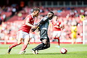 Benfica defender Pedro Pereira (23), RB Leipzig Armando Bruma (17) during the Emirates Cup 2017 match between Leipzig and Benfica at the Emirates Stadium, London, England on 30 July 2017. Photo by Sebastian Frej.