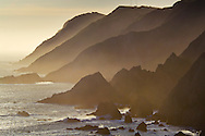 Backlit cliffs of the Point Reyes headlands, Point Reyes National Seashore, Marin County, California