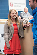 24/05/2014 Looking good for 24 year old Mairead Farrell (Sine Fein ) (Niece of Gibralter Mairead Farrell) and Conor Stitt, her Communications manager,   running for   Galway City Council for the first time at the Count Centre in Westside Community centre. Photo:Andrew Downes .