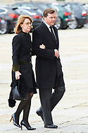 Pedro Borbon-Dos Sicilias Orleans, Sofia Landaluce attend Mass commemorating the 25th anniversary of the death of His Royal Highness the Count of Barcelona Juan of Borbon at Royal Monastery of San Lorenzo de El Escorialon April 3, 2018 in El Escorial, Spain