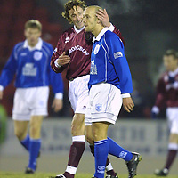 St Johnstone v Hearts   02.01.02<br />Stephane Mahe with fellow Frenchman Rachid Djebaili after Hearts beat St Johnstone 2-0<br /><br />Pic by Graeme Hart<br />Copyright Perthshire Picture Agency<br />Tel: 01738 623350 / 07990 594431