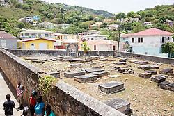 Remnants of the Jewish Cemetery.  The Virgin Islands Economic Development Association Enterprise & Commercial Zone Commission hosts a historical tour through the Savan (Savanne) neighborhood.   St. Thomas, US Virgin Islands.  9 July 2015.  © Aisha-Zakiya Boyd
