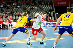 Max Darj of Sweden vs Goran Johannessen of Norway during handball match between National teams of Sweden and Norway on Day 7 in Main Round of Men's EHF EURO 2018, on January 24, 2018 in Arena Zagreb, Zagreb, Croatia.  Photo by Vid Ponikvar / Sportida