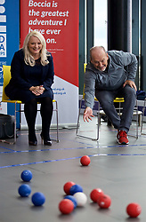 LIVERPOOL, ENGLAND - Wednesday, August 15, 2018: Everton's Chief Executive Professor Denise Barrett-Baxendale (left) and Liverpool FC's Chief Executive Peter Moore practice playing Boccia at the BISFed 2018 Word Boccia Championships in the Liverpool Exhibition Centre. (Pic by David Rawcliffe/Propaganda)