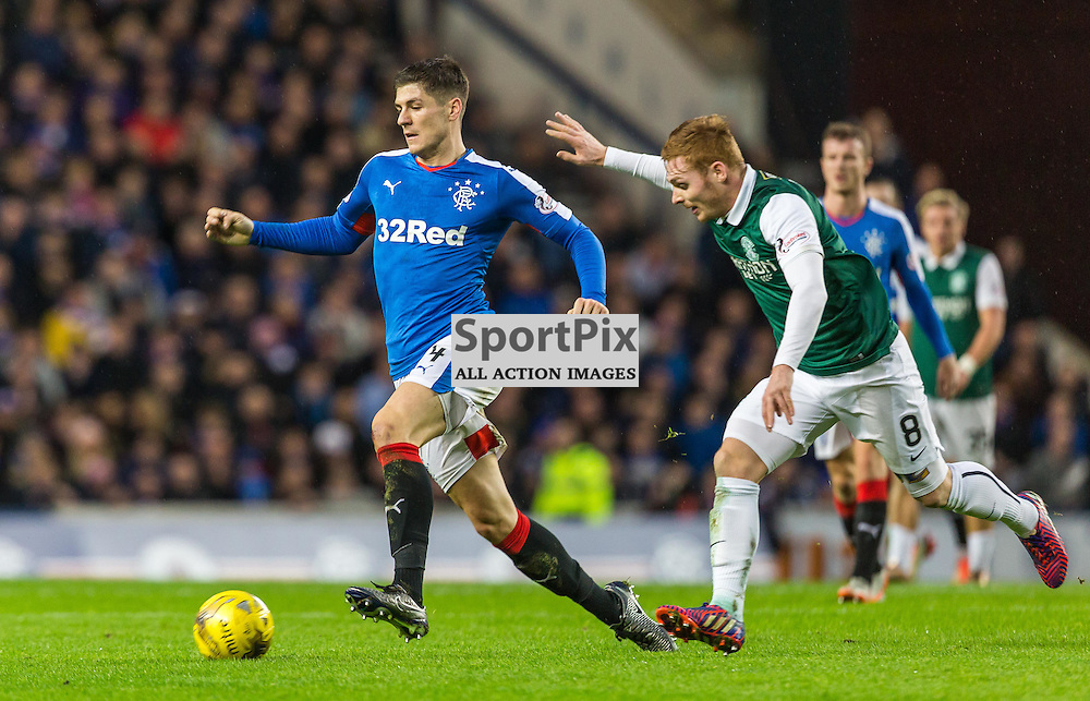 Rob Kiernan in action during the match between Rangers and Hibernian (c) ROSS EAGLESHAM | Sportpix.co.uk