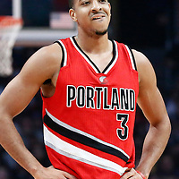 12 December 2016: Portland Trail Blazers guard C.J. McCollum (3) rests during the LA Clippers 121-120 victory over the Portland Trail Blazers, at the Staples Center, Los Angeles, California, USA.