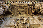 Sculptural detail of the birth of the Virgin, from scenes from the Life of the Virgin, on the main portal, designed by Andres de Vandelvira, 1509–75, in Plateresque style, and carved by Esteban Jamete, 1515-65, at the Sacra Capilla del Salvador, or Sacred Chapel of the Saviour, designed by Diego de Siloe and Andres de Vandelvira and built for Francisco de los Cobos in 1536 in Spanish Renaissance style and consecrated in 1559, on the Plaza Vazquez de Molina, in Ubeda, Jaen, Andalusia, Spain. The Renaissance buildings of Ubeda and Baeza are listed as a UNESCO World Heritage Site. Picture by Manuel Cohen
