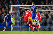Steven Gerrard of Liverpool takes a free-kick during the Capital One Cup Semi Final 2nd Leg match between Chelsea and Liverpool at Stamford Bridge, London, England on 27 January 2015. Photo by David Horn.