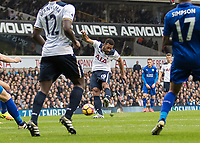 Football - 2016 / 2017 Premier League - Tottenham Hotspur vs. Leicester City<br /> <br /> Mousa Dembele of Tottenham  with a attempt at goal at White Hart Lane.<br /> <br /> COLORSPORT/DANIEL BEARHAM