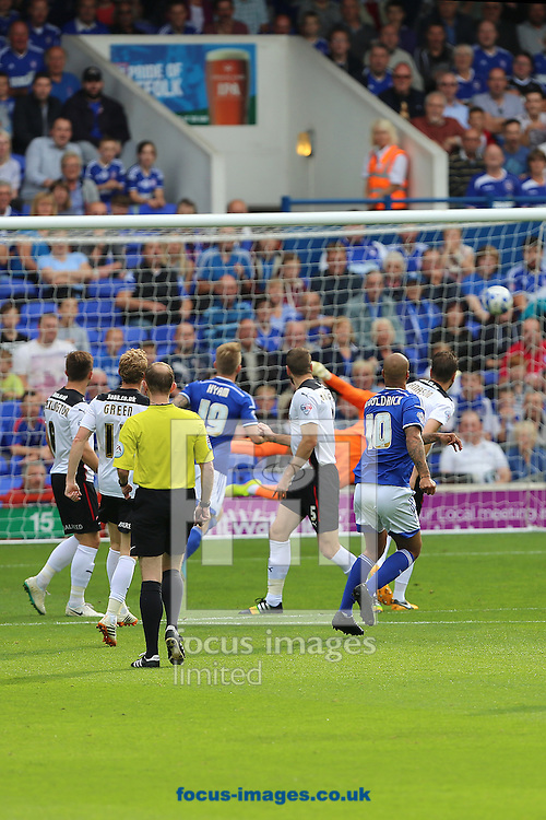 David McGoldrick of Ipswich Town scores the winning goal during the Sky Bet Championship match against Rotherham United at Portman Road, Ipswich<br /> Picture by Richard Calver/Focus Images Ltd +447792 981244<br /> 27/09/2014