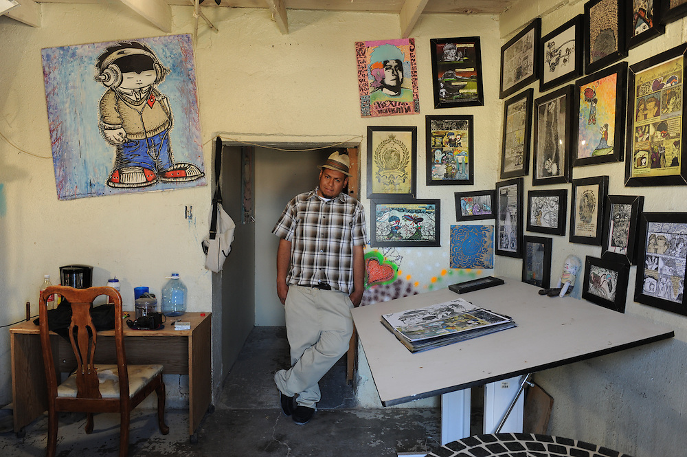 Muralist and comic artist Rexito Maraña at his home and studio  in Cuidad Juarez, Mexico.