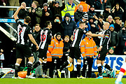 Jonjo Shelvey (#8) of Newcastle United celebrates Newcastle United's first goal (1-1) during the Premier League match between Newcastle United and Southampton at St. James's Park, Newcastle, England on 8 December 2019.
