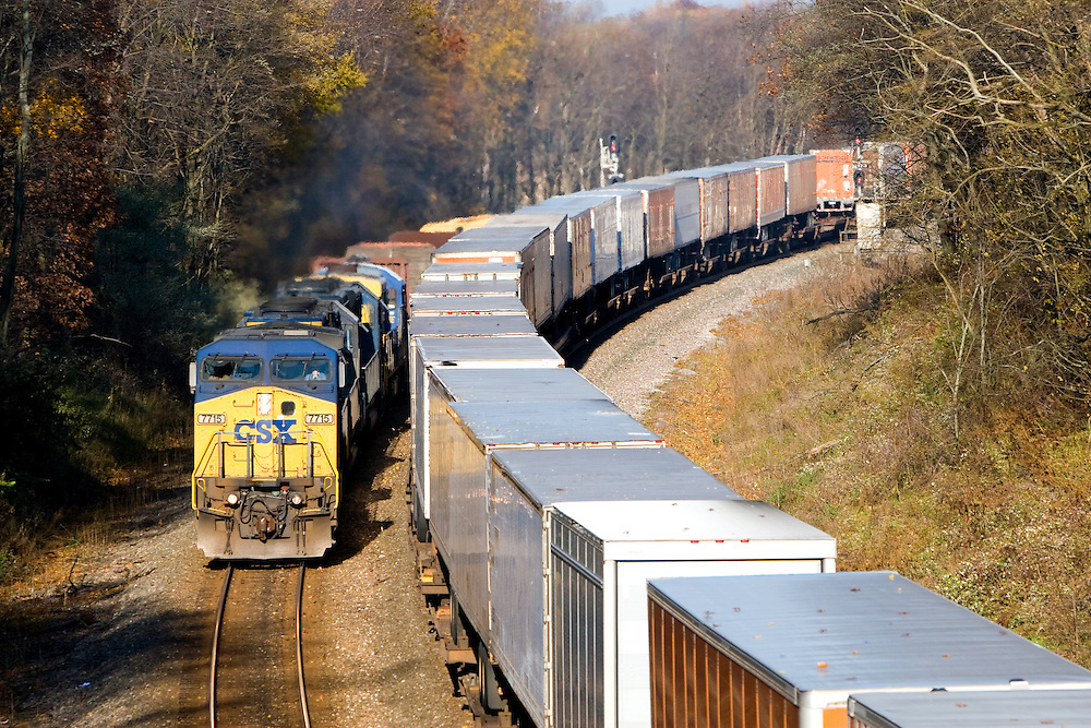 CSX Intermodal and Freight Trains Pass in Indiana ...