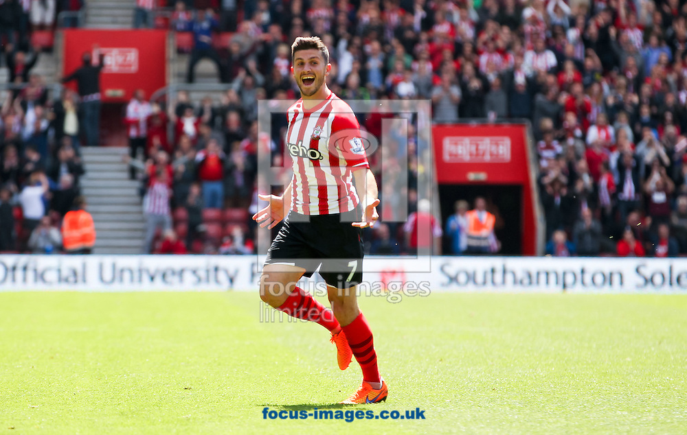 Shane Long of Southampton celebrates scoring his sides fifth goal during the Barclays Premier League match at the St Mary's Stadium, Southampton<br /> Picture by Tom Smith/Focus Images Ltd 07545141164<br /> 16/05/2015