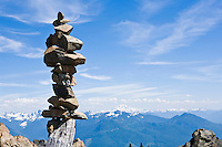 An amazing stack of rocks marking the summit of Sauk Mountain in the North Cascades of Washington, USA.