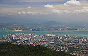 A view of Georgetown on Penang, Malaysia, Malacca Strait and Peninsular Malaysia from Penang Hill.