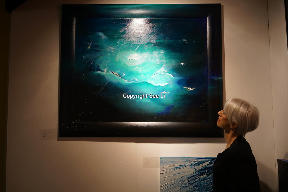 Chelsea Old Town Hall.London,England,UK. 26th April 2017. Nebula IV by Gabriella Csanyi-Wills exhibition  at Chelsea Art Fair - press & photocall of King's Road Revolution Where Art meets Music at Chelsea Old Town Hall. by See Li