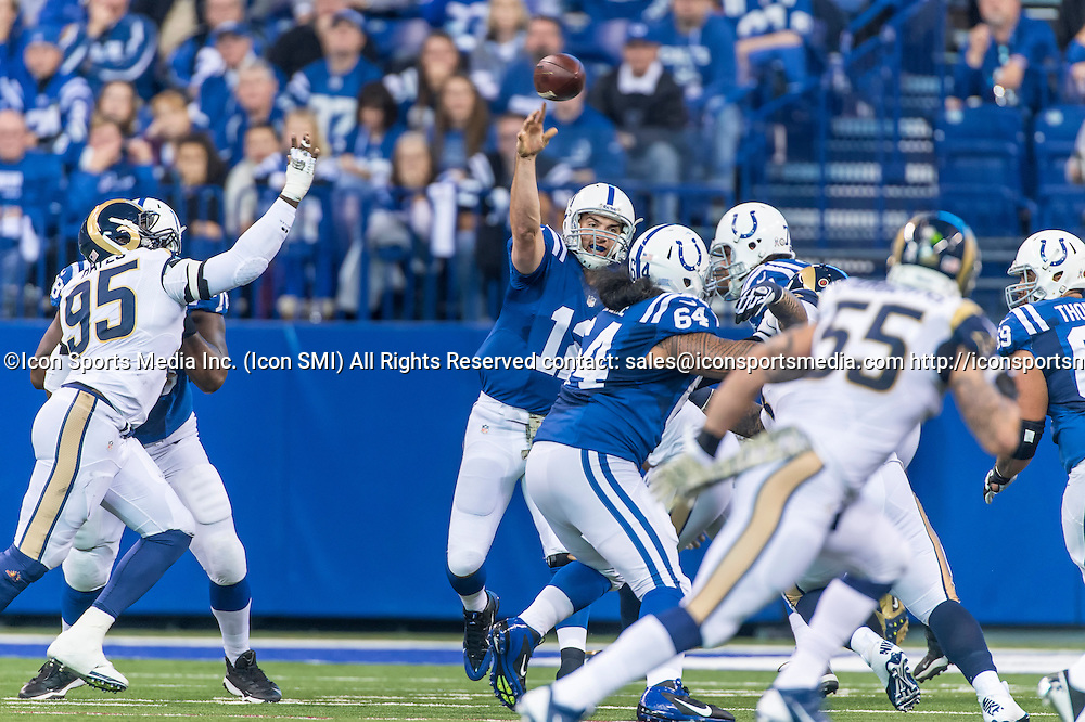 November 10, 2013:   Indianapolis Colts quarterback Andrew Luck (12) in action during a football game between the Indianapolis Colts and the St. Louis Rams at Lucas Oil Stadium in Indianapolis, IN.