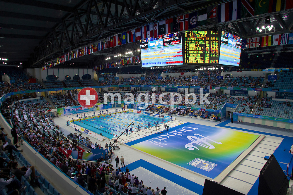 A general view during the men's 1500m Freestyle fastest heat during the 10th FINA World Swimming Championships (25m) at the Hamdan bin Mohammed bin Rashid Sports Complex in Dubai, United Arab Emirates, Sunday, Dec. 19, 2010. (Photo by Patrick B. Kraemer / MAGICPBK)